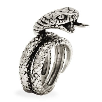 Sterling Silver King Cobra Ring - Hissing Snake with Pointed Tongue
