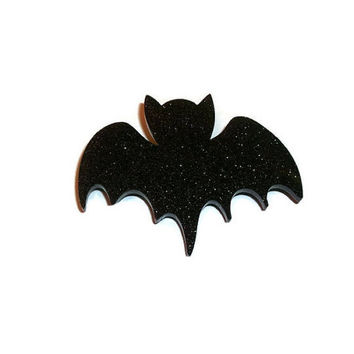 Bat Brooch, Black Glitter Bat Pin Laser Cut Creepy Cute Quirky Kitsch Accessory