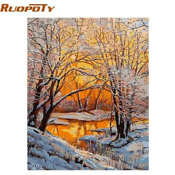 RUOPOTY Frame Snow DIY Painting By Numbers Landscape Hand Painted Oil Painting Home Decor Acrylic Modern Wall Art Picture 40x50