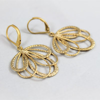 Matte gold earrings feather fan loops leverback ear wires unique vintage style high fashion