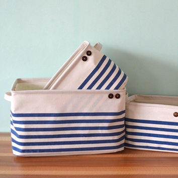 Pink/Blue Navy Stripe With Handle Crown Linen Zakka Vintage Storage Laundry Basket Fold S/M/L/XL = 5709772417