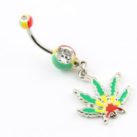 "Belly Button Ring Pot Leaf Dangle 14g 7/16"" Piercing Belly Button Barbell Surgical Steel Bar + 1 Retainer"