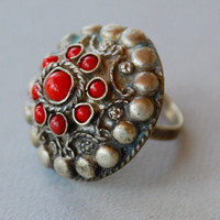 Vintage Large Tribal Kuchi Ring Adjustable Gypsy Ring Belly Dancing Dome Ring Natural Red Stones Ethnic Boho // Vintage Costume Jewelry