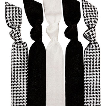 Black and White Houndstooth Five Hair Tie Pack