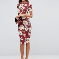ASOS TALL Oxblood Floral T-Shirt Scuba Bodycon Dress at asos.com