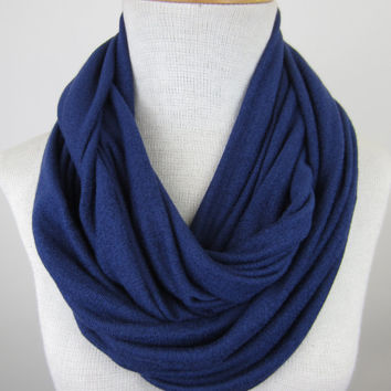 Large Navy Infinity Scarf - Dark Blue Chunky Scarf - Oversized Sweater Scarf