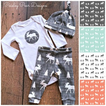 Baby Organic Moose Gift Set Cute for Shower Gift  Pants Hat Onesuit in 4 different choices, aqua, gray, white, and coral