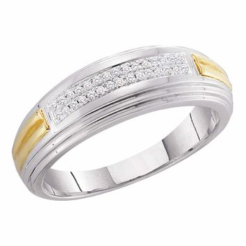10kt Two-tone White Gold Mens Round Diamond Double Row Wedding Band 1/10 Cttw