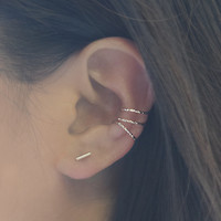 Rose Gold Cuff 3 Earring Set
