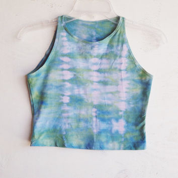Mermaid Tie Dye Crop Top Blue Green Tie Dyed Cropped Top