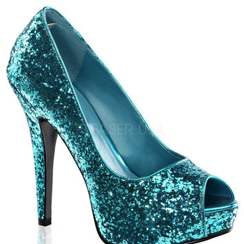 Twinkle Turquoise Sparkle Slip On Pumps