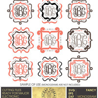 Fancy Monogram Frames (SVG, eps, DXF, PNG) Digital Cut Files for Silhouette, Cricuit electronic cutting machines, embroidery - cv-376