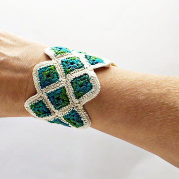 Crochet Bracelet Miniature Granny Square Cuff by Nothingbutstring
