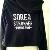 Ladies Black Danskin Jacket, Sore Today Stronger Tomorrow, Medium