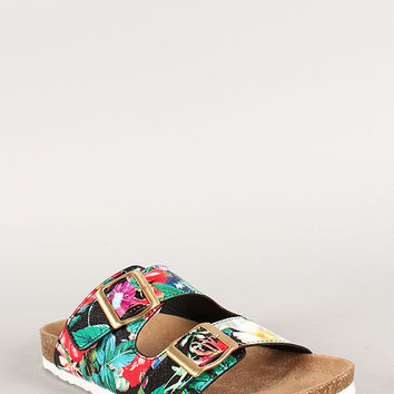 Soda Floral Buckle Leatherette Open Toe Footbed Sandal