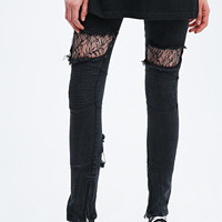 Vinti Andrews Lace Insert Biker Jeans in Black - Urban Outfitters