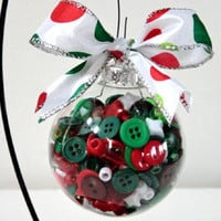 Christmas Tree Ornament Buttons Beads Polka Dots Red Green White Glass Filled