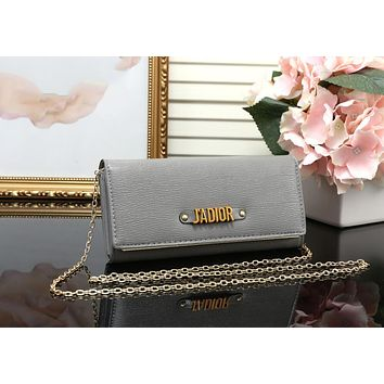 DIOR Trending Ladies Shopping Leather Metal Chain Single Shoulder Bag Satchel Crossbody Grey I-MYJSY-BB
