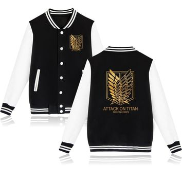 2017 Hot Comic Attack On Titan Recon Corps Baseball Jacket Unisex Fashion Hoodies Plus Size Cotton Sweatshirt Brand Clothing