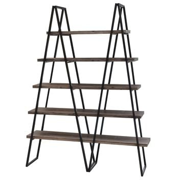 Ashland Weathered Oak Wood And Metal Bookshelf By Crestview Collection Sku Cvfzr781