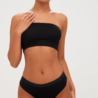 Basic Black Jersey Bandeau Bra and Knicker Set