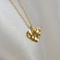 24k Gold Hammered Heart on 14k Gold Filled Chain, 24k Gold Plated .970 Fine Silver Heart, Minimalist, Valentine Love Jewelry