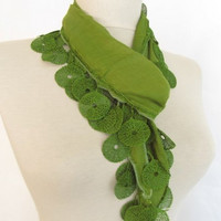 OIL GREEN Scarf // green scarves - cotton scarves - woman accessories - woman trends