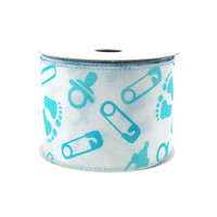 Baby Shower Items Polyester Wired Ribbon, 2-1/2-inch, 10-yard, Light Blue