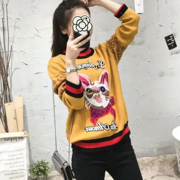 FW16 Winter Alphabet Embroidery Casual Knit Pullover Sweater [8511503303]