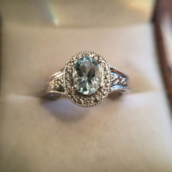 Vintage Aquamarine Ring with Diamond Accent Stones.  10K White Gold Ring. 1+ Carat. Engagement Ring.  Estate Fine Jewelry. March Birthstone.