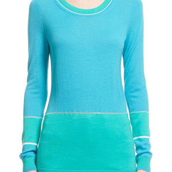 Colorblock Wool Blend Jersey Knit Sweater