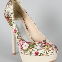 Amber-1 Floral Almond Toe Pump