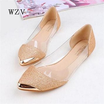 WZV Free shipping 2017 New Chic Metal Pointed/Closed Toe Transparent Shiny Pointed Ballet Flat Shoes,Women's Shoes A016