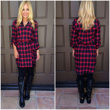 Plaid Behavior Dress With Belt - RED & NAVY