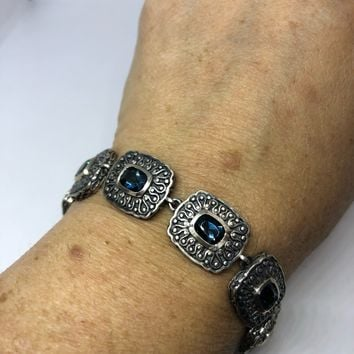 Handmade Genuine London Blue Topaz Deco 925 Sterling Silver Tennis Bracelet