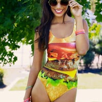 Plus Size Hamburger One-piece Swimsuit By Love This Sunday