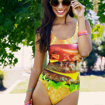 Cheeseburger One-piece Swimsuit Love This Sunday