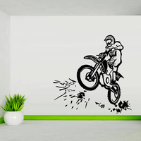 Wall decal art decor decals sticker bedroom design mural tribal dirt bike moto motorcycle race rally GP (m826)