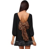 Moonar® Loose Backless Leopard Bow-knot Long Sleeve Blouse Shirt Tops