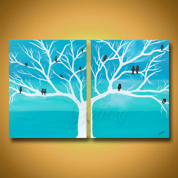 Bird Painting Original Art Original Painting Birds in Tree Painting Bird Art White Tree Painting Teal Painting Canvas Art Wall Decor 20 X 32