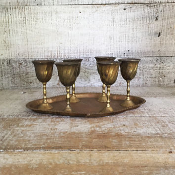 Cordial Drink Set Brass Tray with Six Goblets Brass Liquor Snifters with a Serving Tray Mini Brass Goblets Brass Shot Glasses Brass Barware