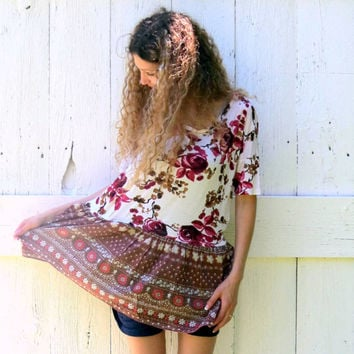 Oversized Shirt Womens Bohemian Floral tunic M L XL upcycled cream and roses top eco fr clothing recycled repurposed fashion by wearlovenow
