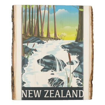 New Zealand River travel poster Wood Panel