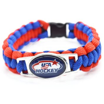 2017 New Hockey Bracelet NHL USA HOCKEY Charm Braided Bracelet for Men Women Sport Bracelet Jewelry Gifts