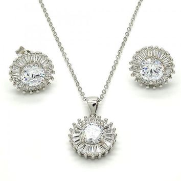 Sterling Silver Necklace and Earring, with Cubic Zirconia, Rhodium Tone