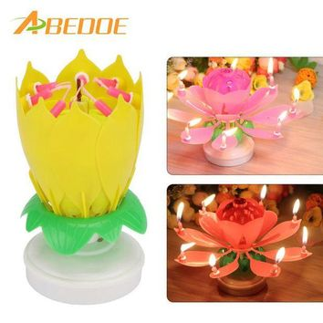 ONETOW ABEDOE Musical Lotus Flower Happy Birthday Party Gift Music Candle Cake Topper Party Romantic Birthday Candle Light Lamp