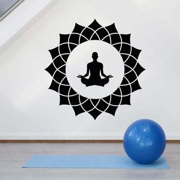 Vinyl Wall Decal Lotus Flower Yoga Meditation Man Pose Room Stickers (2616ig)