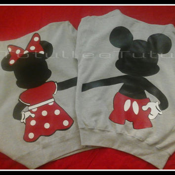 FullBody Disney Inspired Mickey and Minnie Couples Crewneck Sweatshirts.