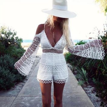 Fashion Sexy Off Shoulder Straps Lace Hollow Dark V Neck Belly Hollow Romper