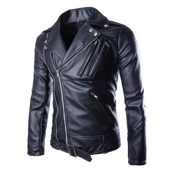Trendy Motorcycle Leather Jackets Mens Classic Vintage Retro Motocle Jacket Turn Down Collar Slim Faux Leather Biker Jacket Size M-5XL AT_94_13